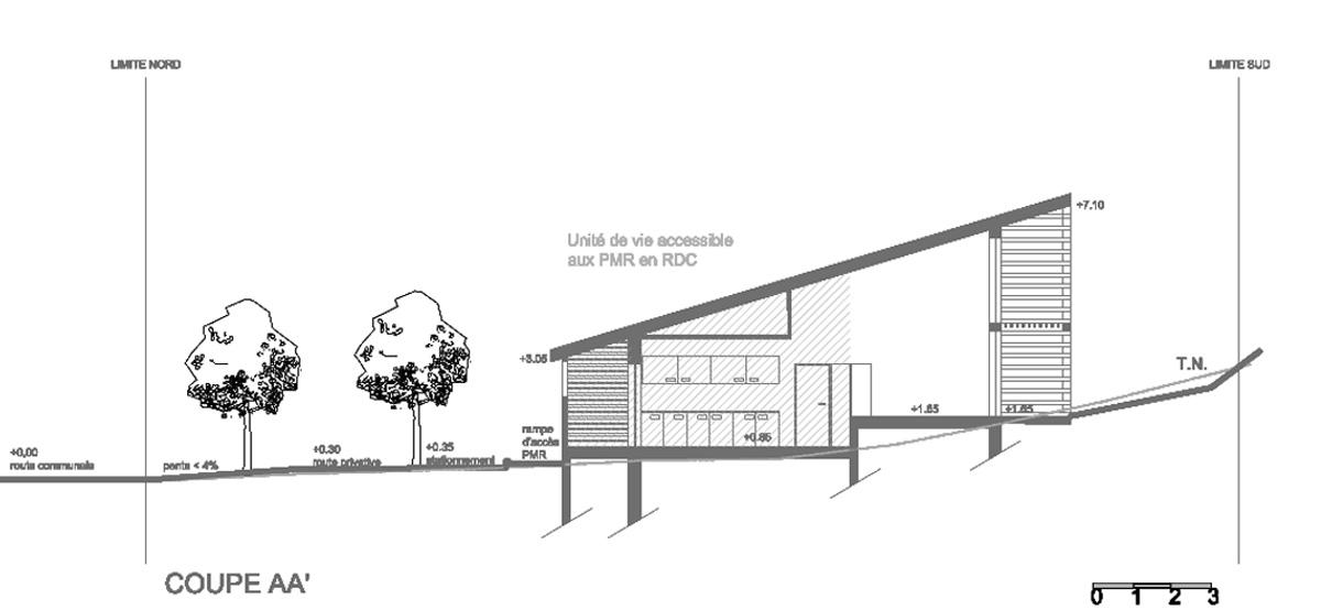 Immeuble contemporain ossature bois en haute corse - Un plan en coupe du terrain et de la construction ...