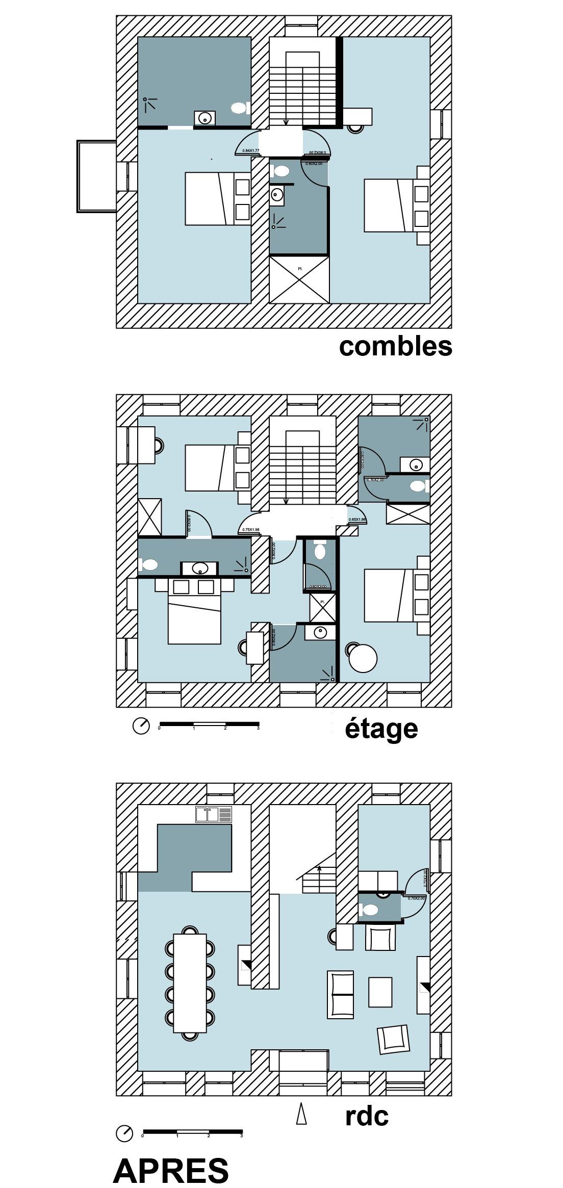 Transformation dune maison dhabitation en chambres plan